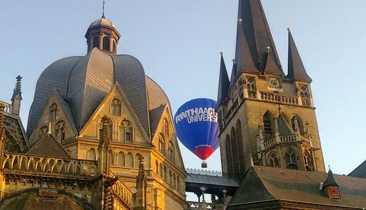 Aachen Cathedral, with the RWTH Hot Air Balloon in the Background