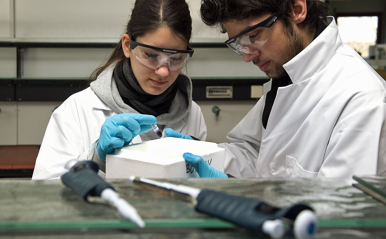 Female and male researcher conducting an experiment