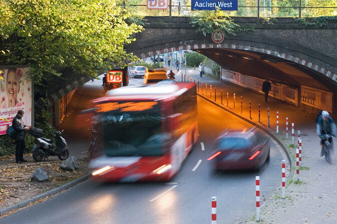 different vehicles at the West Train Station